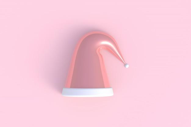 Chapéu de papai noel abstrato mínimo fundo rosa, renderização em 3d