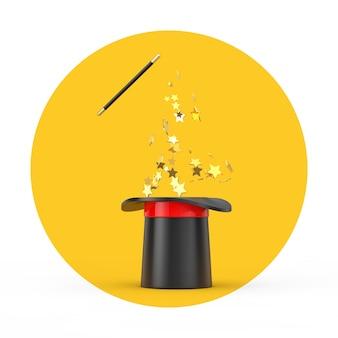 Chapéu mágico e varinha com brilhos em um fundo branco e amarelo. renderização 3d