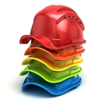 Chapéus de construção colorida