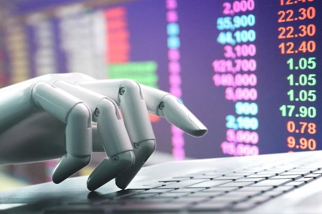 Chatbot robô mão pressionando o teclado do computador entrar de investimento no mercado de fantoches