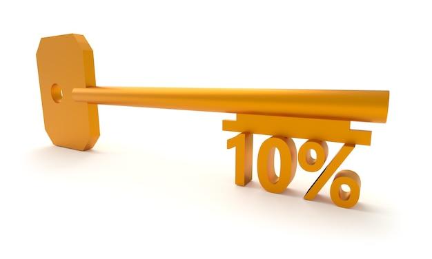 Chave com 10 por cento isolado no branco