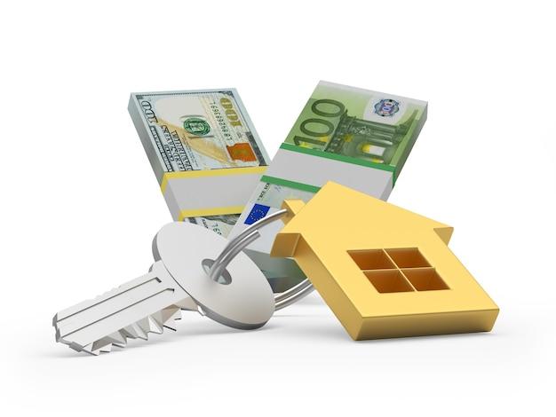Chave com casa dourada, dólares e notas de euro