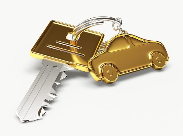 Chave com chaveiro dourado para carro