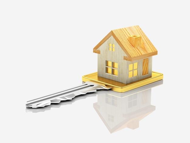 Chave com figura de casa de madeira