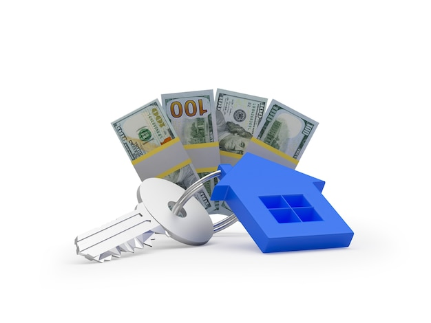 Chave com notas de casa e dólares