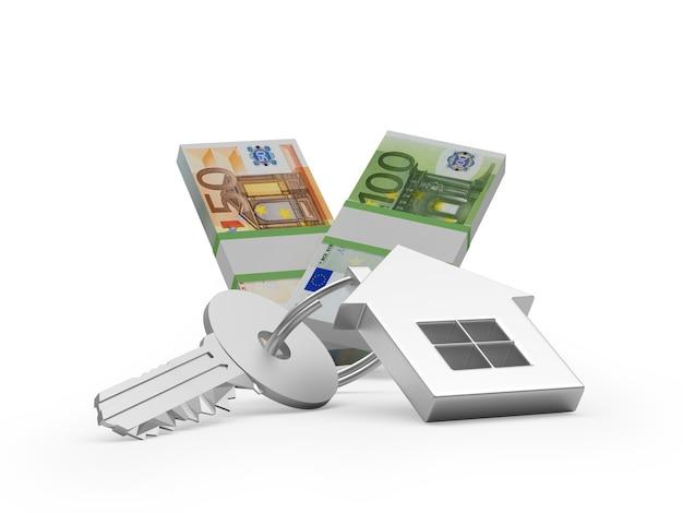 Chave com uma estatueta de casa e notas de euro