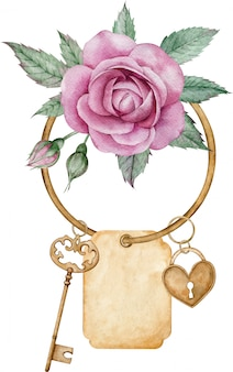 Chave de ouro antiga, fechadura de coração pingente com rosa rosa, folhas verdes isoladas