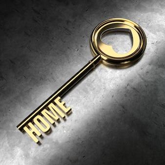 Chave de ouro com a palavra em casa no fundo do metal. ilustração de renderização 3d.