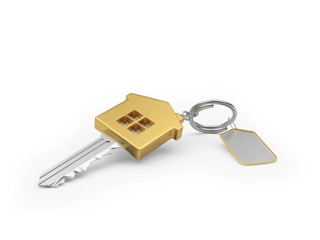 Chave de ouro com etiqueta em branco