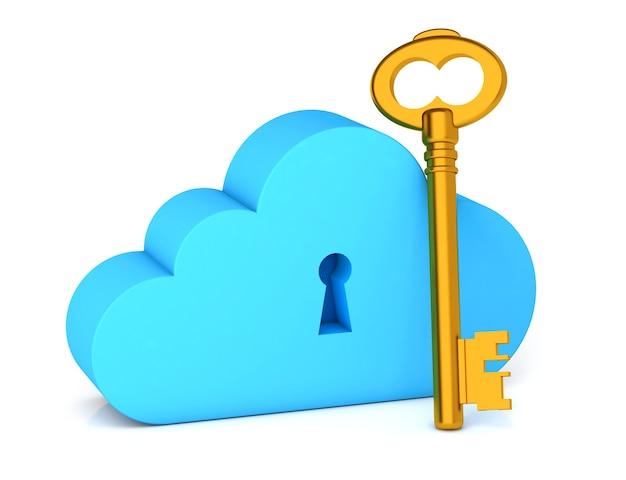 Chave de proteção de armazenamento em nuvem como símbolo de senha e nuvem com dados isolados no fundo branco