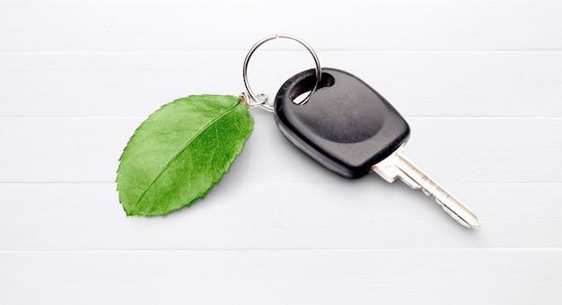 Chave do carro com folha verde