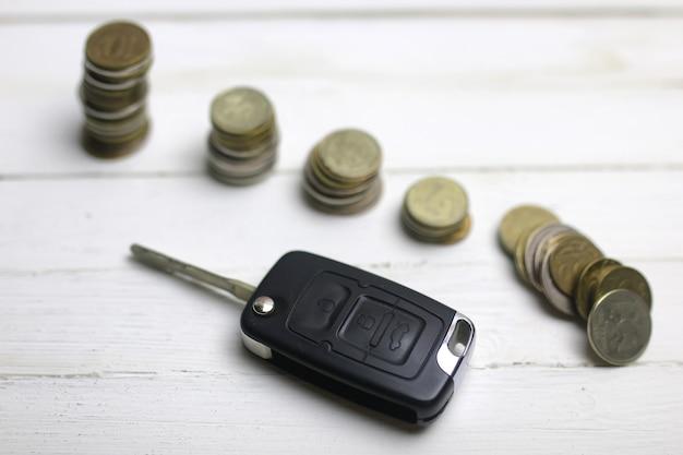 Chave do carro e moeda no fundo