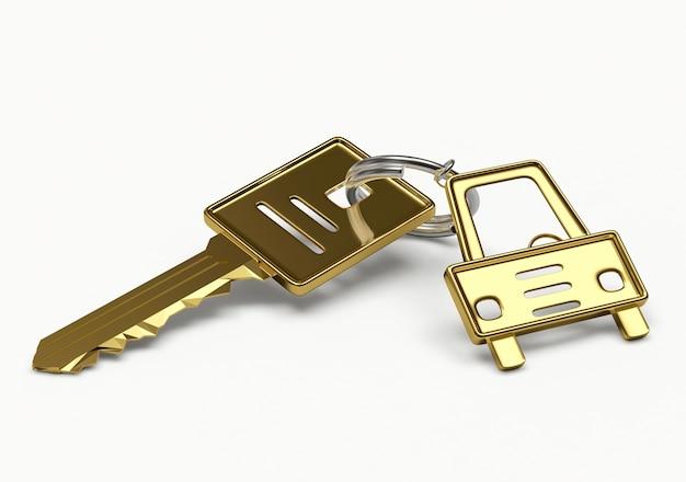 Chave dourada com chaveiro estatueta de carro