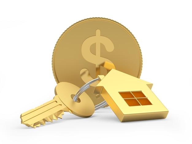 Chave dourada com um chaveiro da casa e uma moeda de um dólar