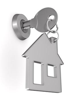 Chave e casa de bugigangas isoladas em ilustração branca.