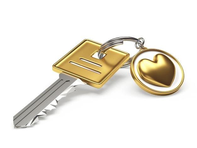 Chave e chaveiro com coração de ouro