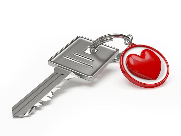 Chave e chaveiro com símbolo de coração vermelho