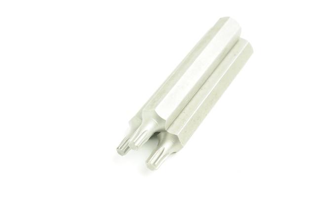 Chave inglesa hexagonal para mecânica de automóveis em um branco isolado.