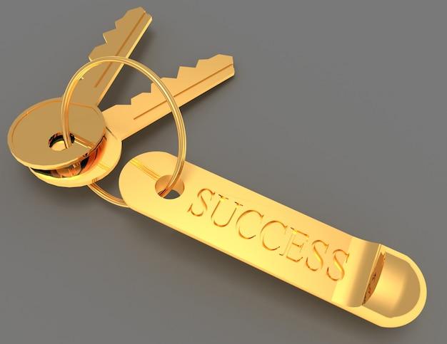 Chave para o conceito de sucesso. ilustração renderizada 3d