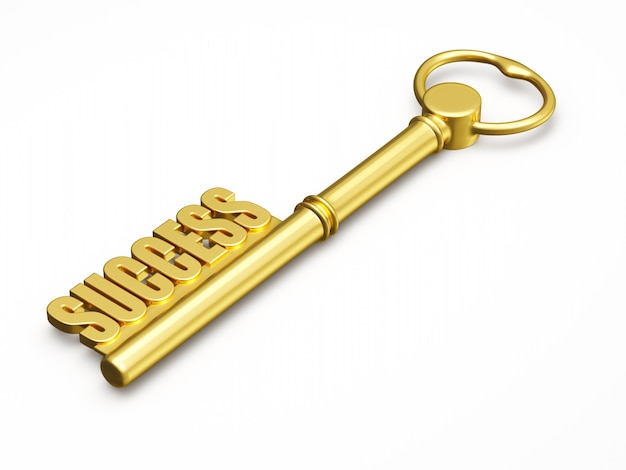 Chave para o sucesso feito de ouro isolado