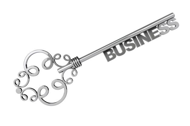 Chave vintage com word business em um fundo branco