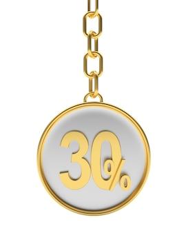 Chaveiro de prata com trinta por cento de desconto