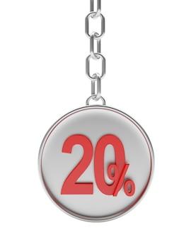Chaveiro prata com vinte por cento de desconto
