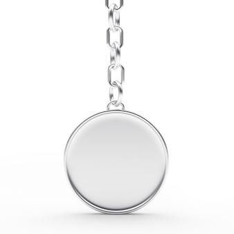 Chaveiro redondo de prata ou metal em branco