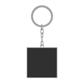 Chaveiro retangular preto elegante com espaço em branco para seu projeto em um fundo branco. renderização 3d