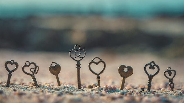 Chaves de esqueleto vintage na pedra do mar