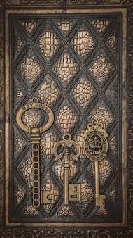 Chaves de esqueleto vintage no livro