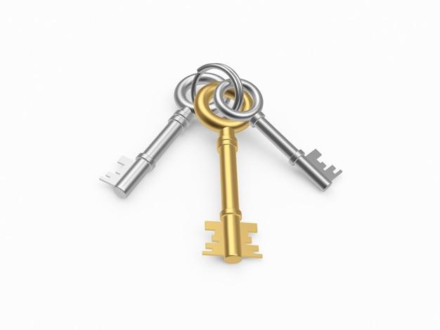 Chaves de ouro e prata em um chaveiro