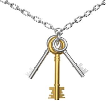 Chaves de ouro e prata em uma corrente
