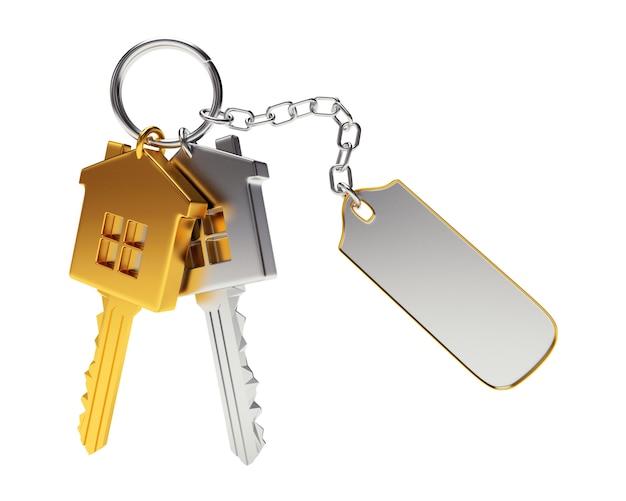 Chaves douradas e prateadas em formato de casa com chaveiro vazio