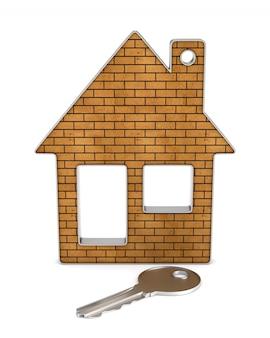 Chaves e casa. isolado, renderização 3d