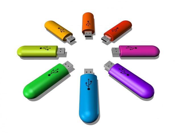 Chaves usb de arco-íris 3d isoladas no fundo branco