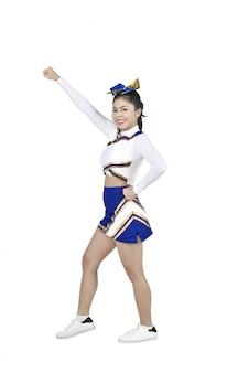 Cheerleader asiática bonito em ação