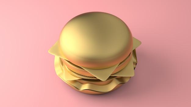 Cheeseburger mínimo de ouro 3d