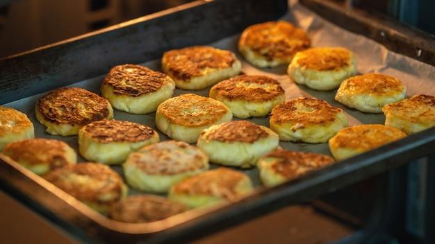 Cheesecakes em close-up de queijo cottage