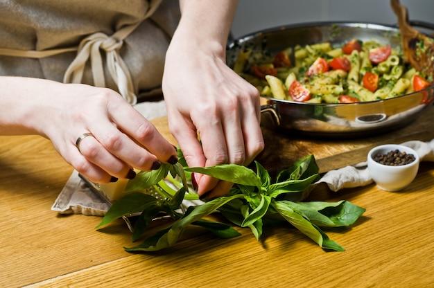 Chef arranca as folhas de manjericão.