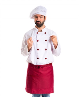 Chef confiável sobre fundo branco