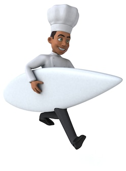 Chef de desenho animado 3d surfando