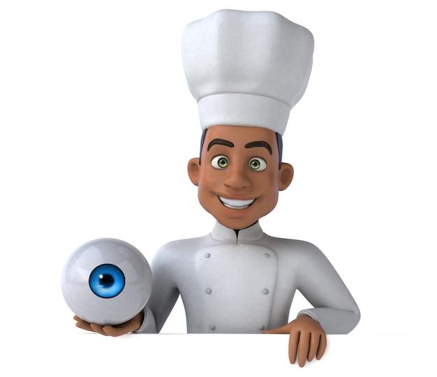 Chef divertido segurando um globo ocular