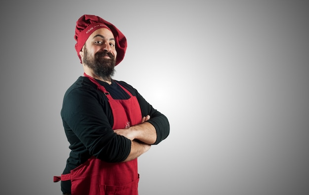 Chef gordinho barbudo feliz