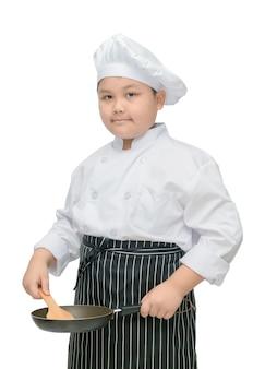 Chefe de rapaz gordo segurar flipper e pan isolado