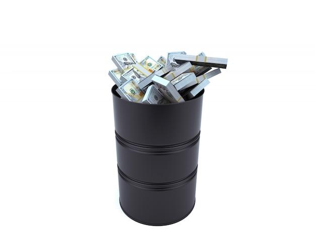 Cheio de dólares em barril no fundo branco