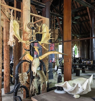 Chiang rai, tailândia - 5 de novembro de 2014: interior do museu da barragem de baan.