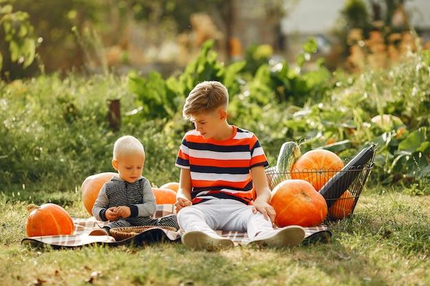 Childresn bonito sentado em um jardim perto de muitas abóboras