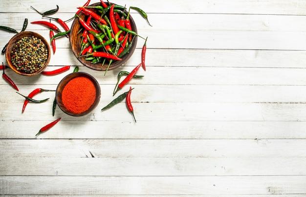 Chili peppers em uma tigela. em uma mesa de madeira branca.