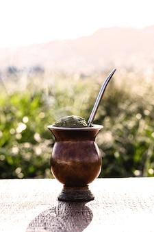 Chimarrão, bebida quente de ervas, típica da américa do sul, brasil, argentina e paraguai